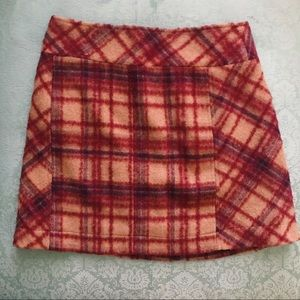 Free People Wool Plaid Mini Skirt